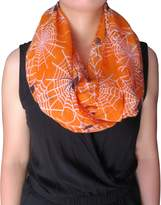 Lina & Lily Spider and Net Print Women's Infinity Loop Scarf Halloween