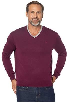 Polo Ralph Lauren Washable Merino Wool V-Neck Sweater (Classic Burgundy) Men's Sweater