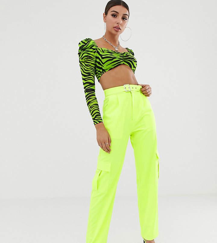 281403a1cb0d5 Naanaa NaaNaa high waist combat pants in neon lime