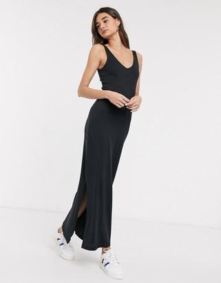 Only July v neck bodycon maxi dress with slits-Black
