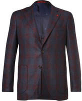 Isaia Blue Slim-fit Checked Super 120s Wool Blazer - Navy