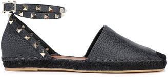 Valentino Rockstud Double Pebbled-leather Espadrilles