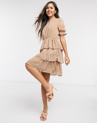 Y.A.S short sleeve dress with ruffle skirt in ditsy floral