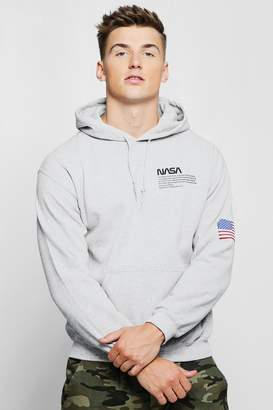 boohoo NASA Chest And Sleeve Print Hoodie