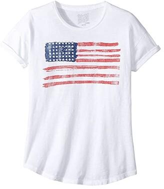 Original Retro Brand The Kids American Flag Slub Crew Neck with Rolled Sleeve Tee (Big Kids)