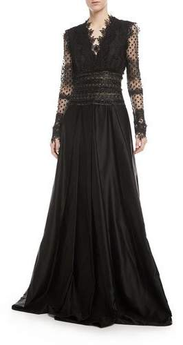 Naeem Khan Long-Sleeve V-Neck Lace Evening Gown w/ Open Back