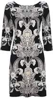 Wallis Black Fitted Paisley Print Shift Dress