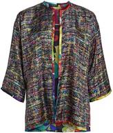 Etro Reversible Tweed & Japanese Floral Silk Cape