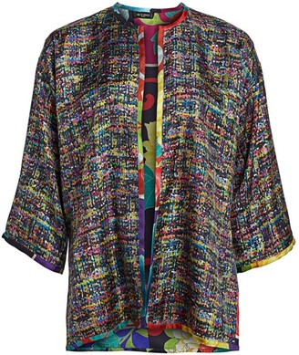 Etro Reversible Tweed & Japanese Floral Silk Cape