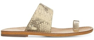 Sam Edelman Maxy Snakeskin-Embossed Leather Toe-Loop Sandals