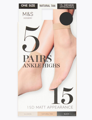 Marks and Spencer 5pk 15 Denier Matt Ankle Highs