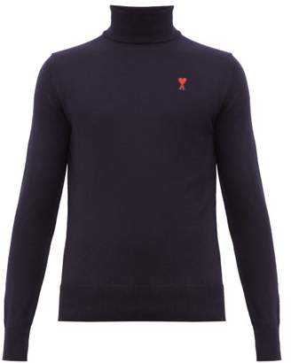 Ami Logo Applique Roll Neck Merino Wool Sweater - Mens - Navy