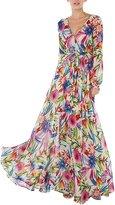 Wagiz Womens Chiffon Floral Print Wrap V Neck Flowy Pleated Wedding Maxi Dress