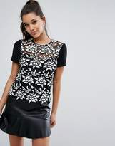 Lipsy Heavy Lace T-Shirt With Contrast Sleeve