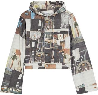 Ganni Cropped Printed Denim Hooded Jacket