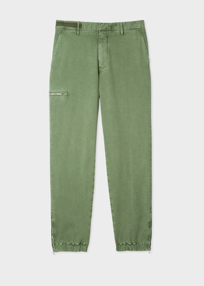 Paul Smith Men's Washed Green Cargo Trousers