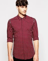 Antony Morato Check Shirt With Zip Sleeve Detailing - Red