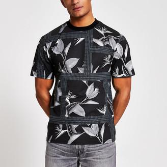 River Island Maison Riviera black print oversized T-shirt