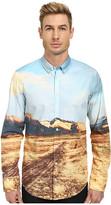 BOSS ORANGE Edipoe Slim Fit Long Sleeve Shirt w/ Button Down Collar in All Over Digital Print