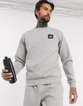 adidas Crew Neck Sweatshirt With Box Logo In Grey