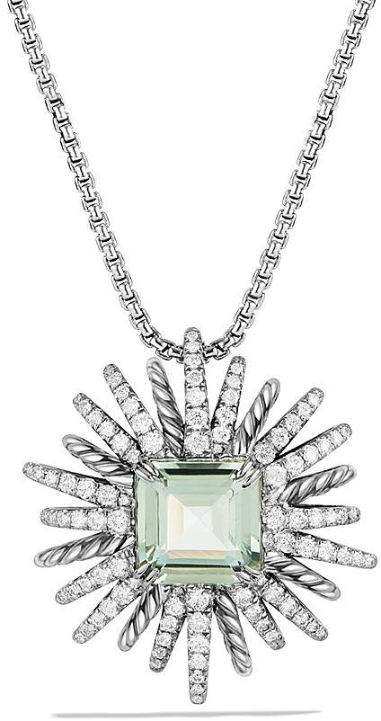 David Yurman Starburst Necklace with Diamonds and Prasiolite in Sterling Silver, 38.5""