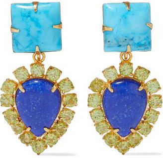 Bounkit Convertible 14-karat Gold-plated, Turquoise, Lapis Lazuli And Peridot Earrings