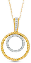 Zales 1/10 CT. T.W. Diamond and Rope-Textured Double Circle Pendant in 10K Gold
