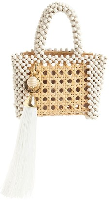 Rosantica ALIDA STRAW BEADED TOP HANDLE BAG
