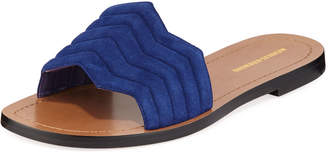 Nicholas Kirkwood Chevron Flat Slide Sandals, Blue