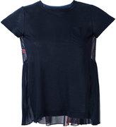 Sacai chiffon panelled top - women - Linen/Flax/Polyester - 3