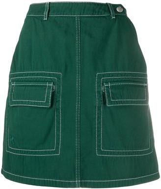 Kenzo High Waisted Flap Pockets Skirt