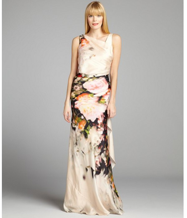 Kay Unger cream and pink floral printed asymmetrical pleated gown
