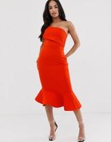 Asos Design DESIGN quilted fold off shoulder pep hem midi dress