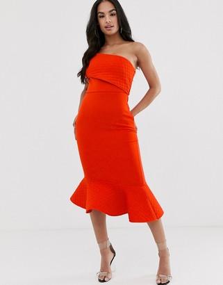 Asos Design DESIGN quilted fold off shoulder pep hem midi dress-Multi