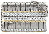 Nancy Gonzalez Bamboo Woven Crocodile Shoulder Bag, Blush/Black/Taupe