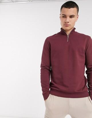ASOS DESIGN sweatshirt with half zip in burgundy