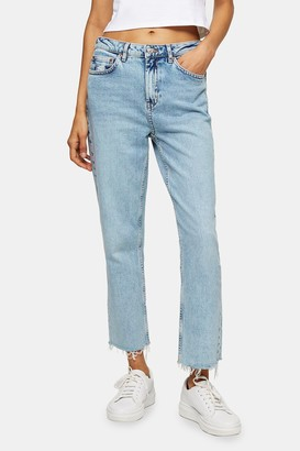 Topshop Womens Considered Bleach Wash Straight Jeans - Bleach Stone