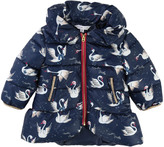 Little Marc Jacobs All-Over Swan Down Jacket With Removable Hood