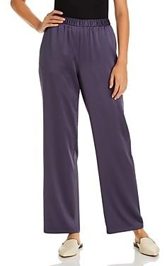 Eileen Fisher Petites Satin Straight-Leg Pants