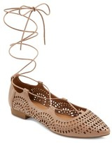 Mossimo Women's Feliza Laser Cut Ghillie Pointed Toe Lace Up Ballet Flats