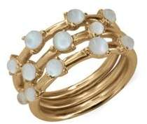 Lucky Brand Goldtone and White Mother-of-Pearl Stacked Ring