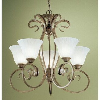 Manilla 5-Light Shaded Classic / Traditional Chandelier Classic Lighting Glass Color: White Alabaster