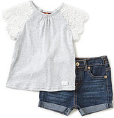 7 For All Mankind Baby Girls 12-24 Months Lace-Sleeve Jersey Top & Denim Shorts Set