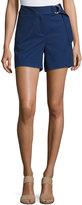 MICHAEL Michael Kors Ring-Belted Cotton-Blend Shorts, Blue
