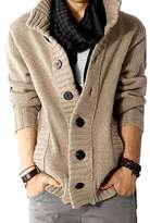 Benibos Men's Button Point Stand Collar Knitted Slim Fit Cardigan Sweater (M, )