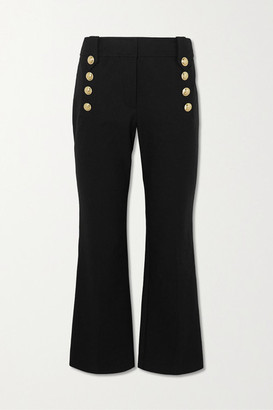 Derek Lam 10 Crosby Robertson Cropped Button-embellished Cotton-blend Flared Pants - Black