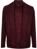 River Island MensBurgundy textured open front cardigan