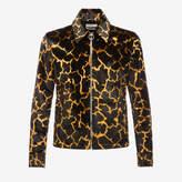 Bally Giraffe Printed Velvet Jacket Black, Men's velvet blouson jacket in multi-black