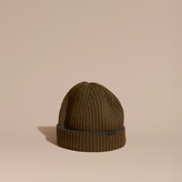 Burberry Ribbed Cashmere Beanie With Border Detail, Green