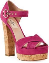 Valentino Garavani Suede Ankle-Strap Platform Sandals